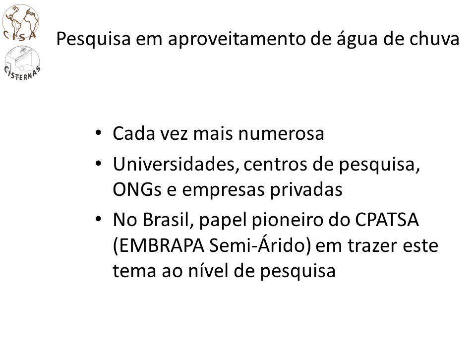 Pesquisa em aproveitamento de água de chuva Cada vez mais numerosa Universidades, centros de pesquisa, ONGs e empresas privadas No Brasil, papel pione