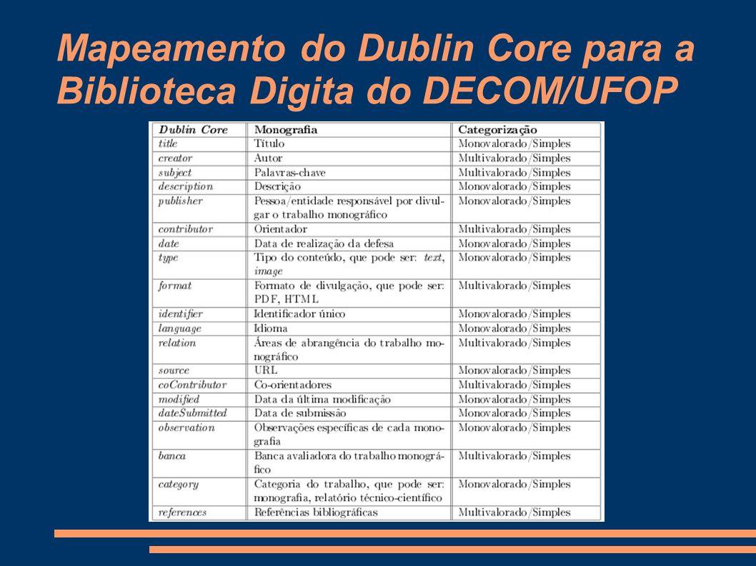 Mapeamento do Dublin Core para a Biblioteca Digita do DECOM/UFOP