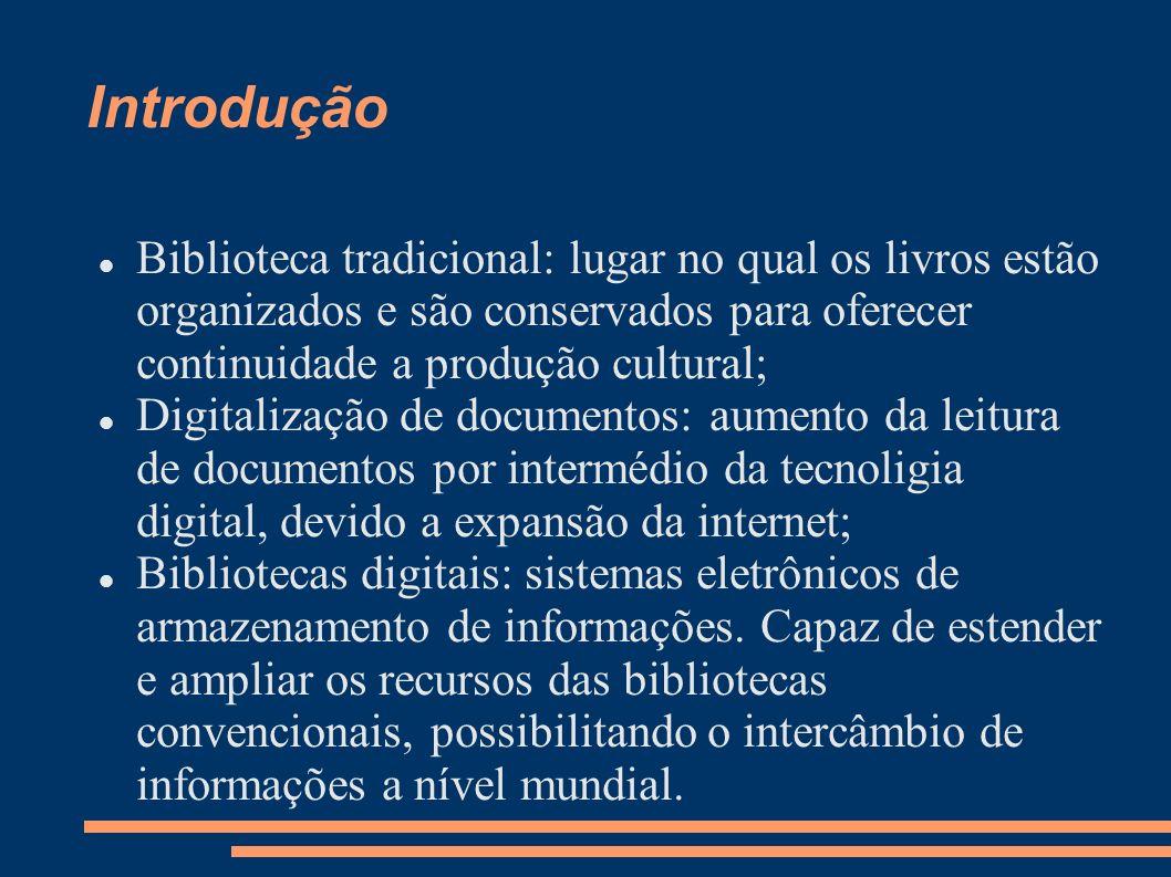 Introdução Biblioteca tradicional: lugar no qual os livros estão organizados e são conservados para oferecer continuidade a produção cultural; Digital
