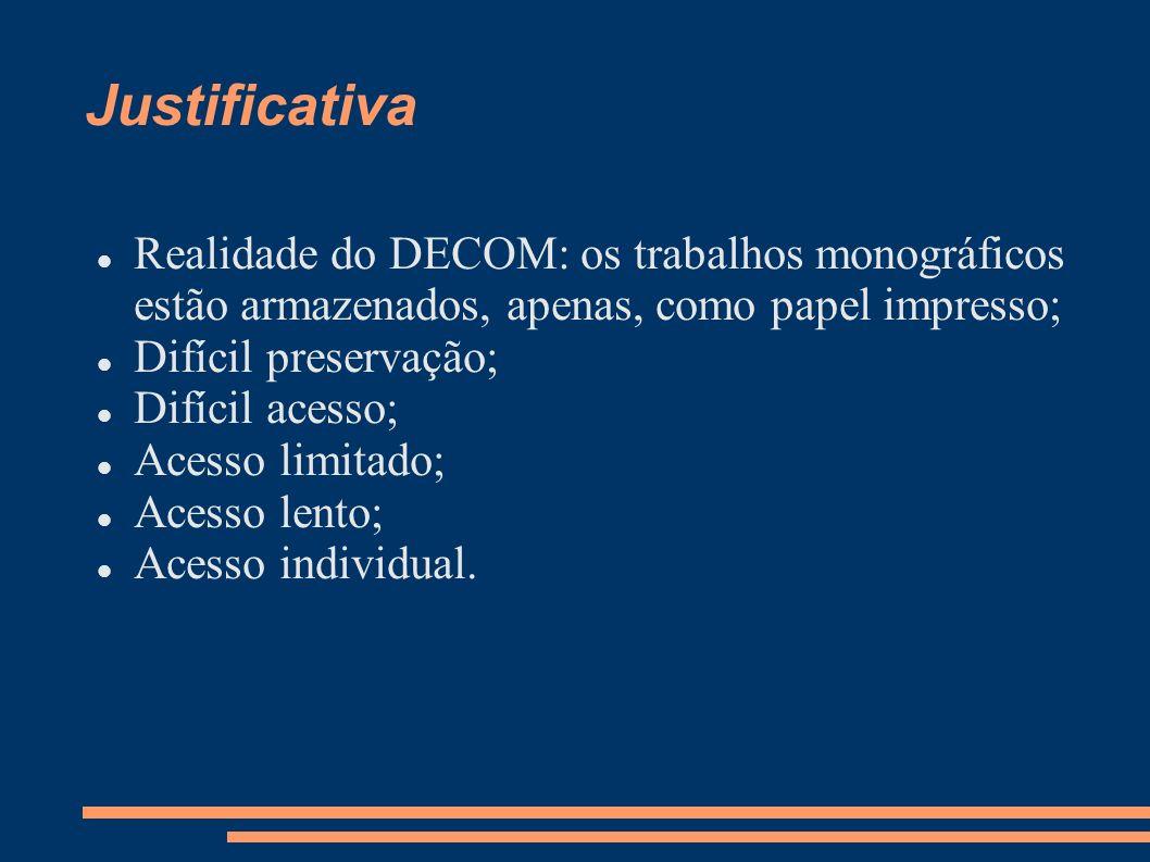 Objetivos Confeccionar a biblioteca digital do DECOM; Aumentar a visibilidade do DECOM/UFOP; Disseminar o conhecimento produzido no DECOM para a comunidade acadêmica; Proporcionar acesso ágil, ininterrupto e simultâneo; Preservar a integridade e garantir a persistência.