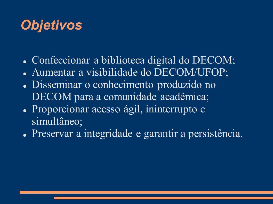 Trabalhos relacionados Biblioteca Digital Brasileira de Computação – BDBComp: criada com o objetivo de disseminar o conhecimento científico produzido pela comunidade brasileira de computação; Biblioteca Digital de Computação do Uni-BH – BDCUni: criada com o objetivo de arquivar trabalhos monográficos do curso de Ciência da Computação.