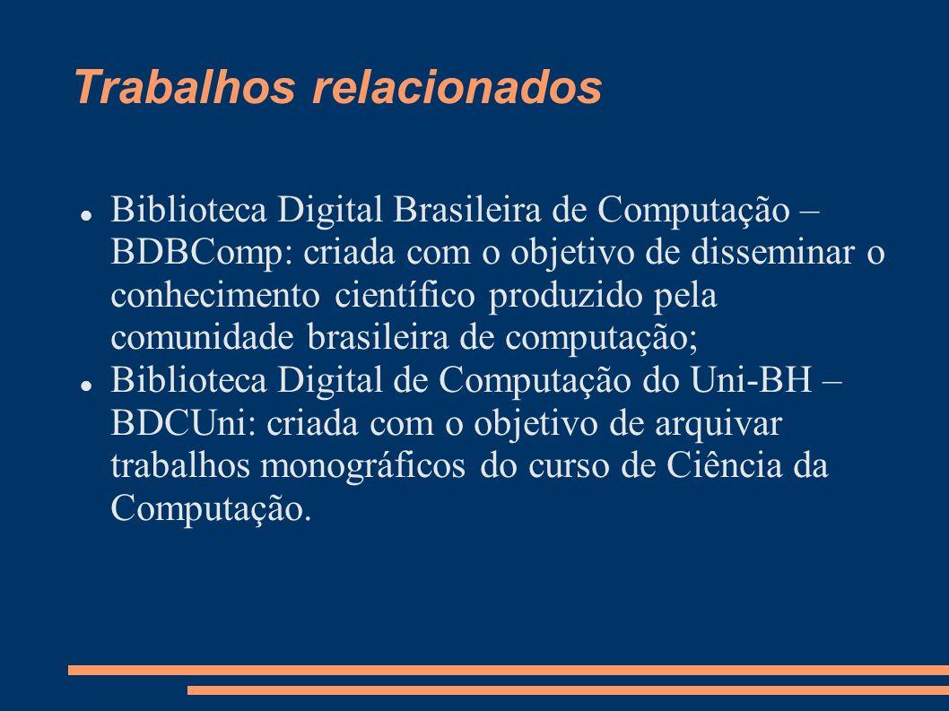 Trabalhos relacionados Biblioteca Digital Brasileira de Computação – BDBComp: criada com o objetivo de disseminar o conhecimento científico produzido
