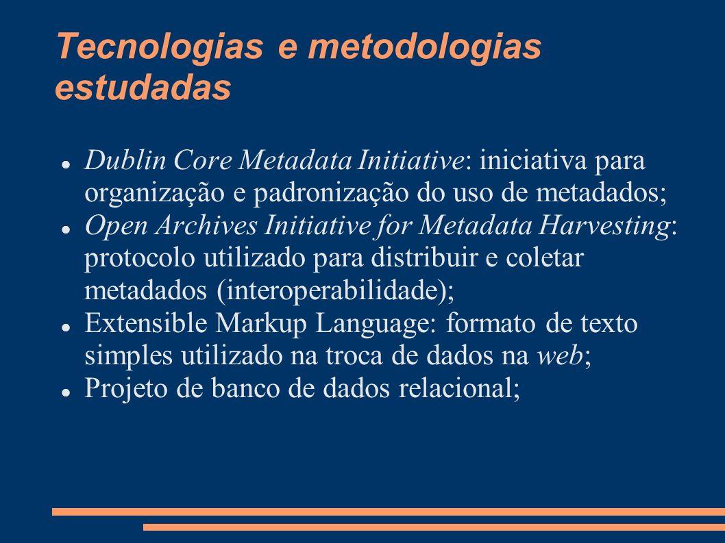 Resultados preliminares obtidos Revisão bibliográfica, que trouxe embasamento teórico, para dar continuidade ao trabalho; Definição dos metadados a serem armazenados; Mapeamento dos atributos do Dublin Core para a biblioteca digital do DECOM; Criação do modelo de XML; Criação do esquema conceitual do banco de dados; Criação do esquema relacional do banco de dados; Geração do script para implantação física do banco de dados;