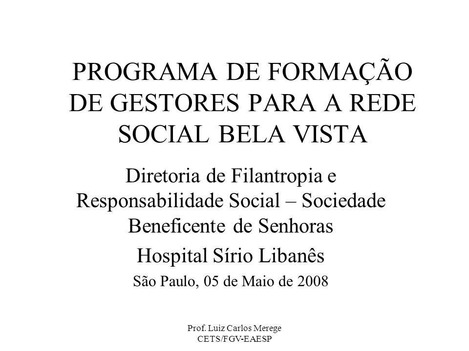 Prof. Luiz Carlos Merege CETS/FGV-EAESP PROGRAMA DE FORMAÇÃO DE GESTORES PARA A REDE SOCIAL BELA VISTA Diretoria de Filantropia e Responsabilidade Soc