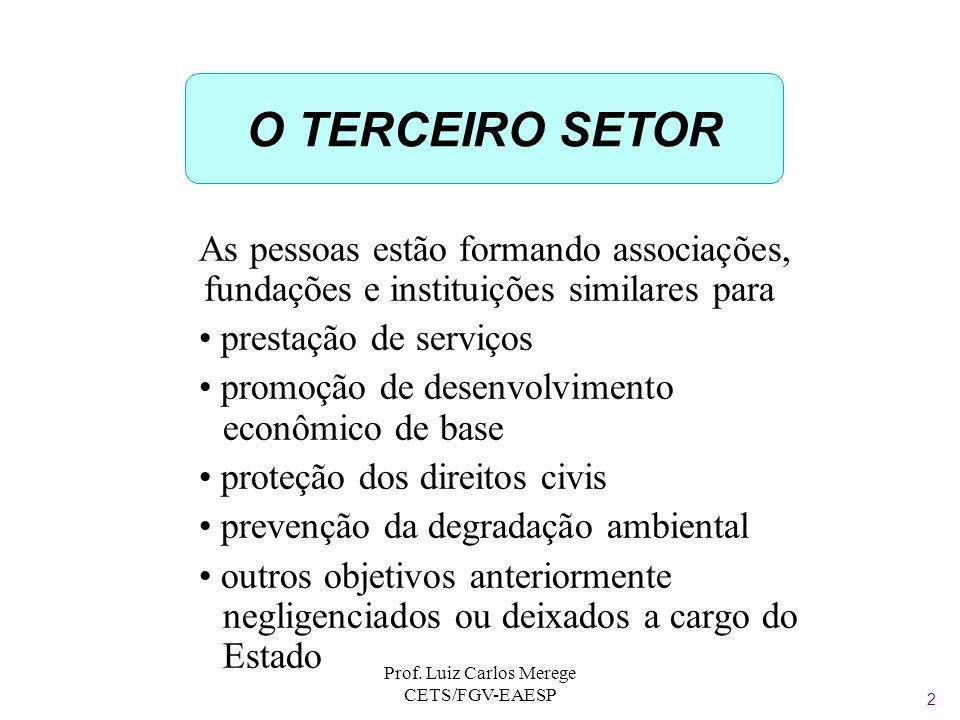 Prof. Luiz Carlos Merege CETS/FGV-EAESP O TERCEIRO SETOR As pessoas estão formando associações, fundações e instituições similares para prestação de s