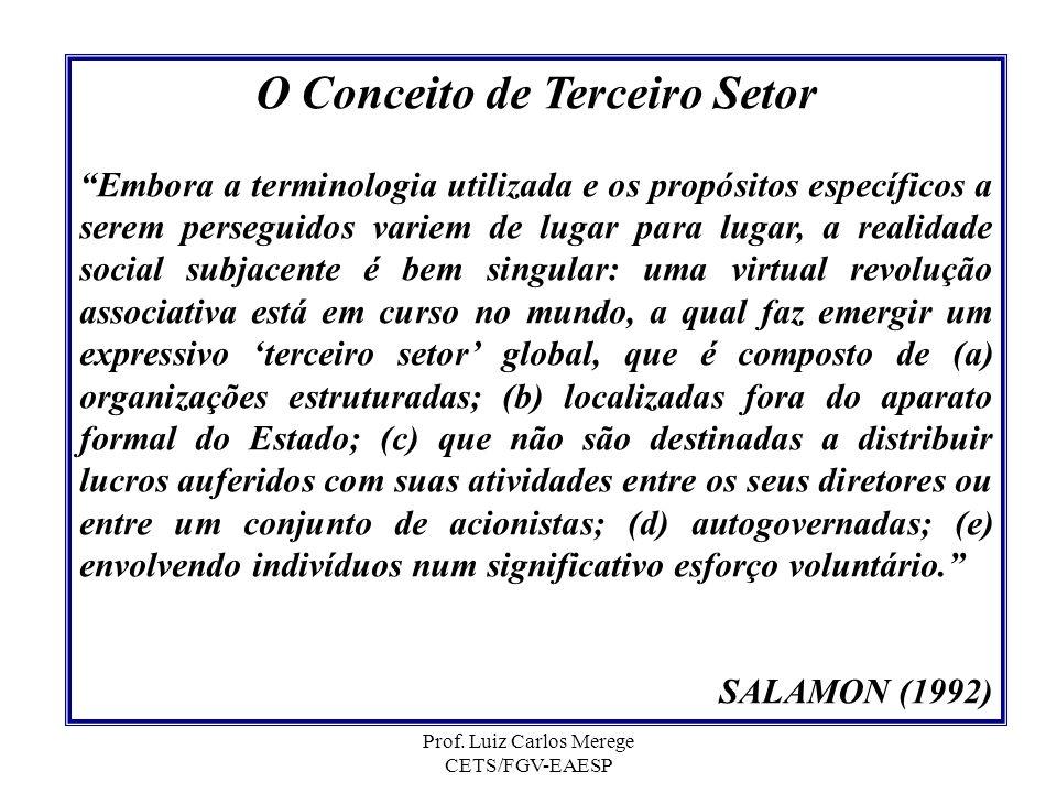 Prof. Luiz Carlos Merege CETS/FGV-EAESP O Conceito de Terceiro Setor Embora a terminologia utilizada e os propósitos específicos a serem perseguidos v