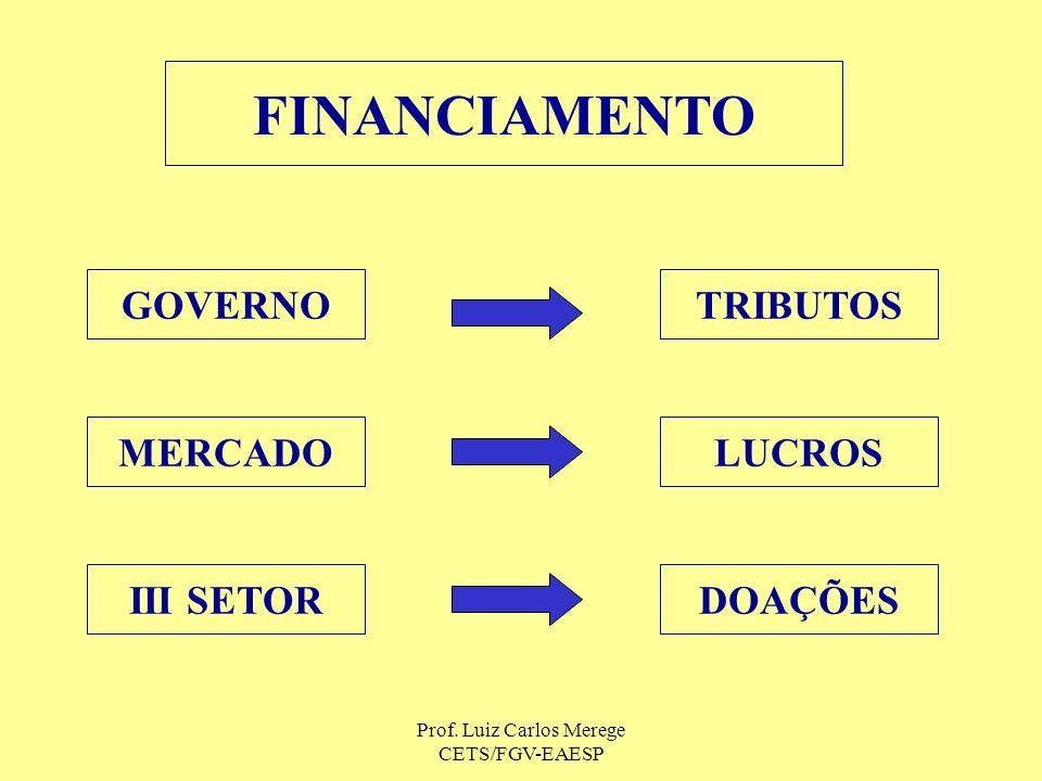 Prof. Luiz Carlos Merege CETS/FGV-EAESP FINANCIAMENTO GOVERNO MERCADO III SETORDOAÇÕES LUCROS TRIBUTOS