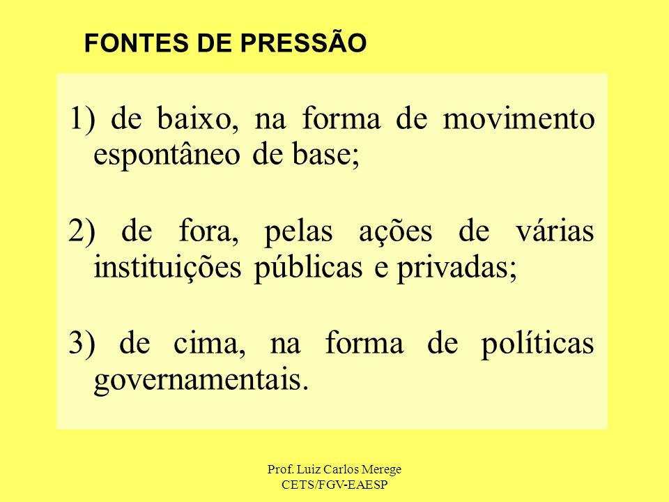 Prof. Luiz Carlos Merege CETS/FGV-EAESP 1) de baixo, na forma de movimento espontâneo de base; 2) de fora, pelas ações de várias instituições públicas