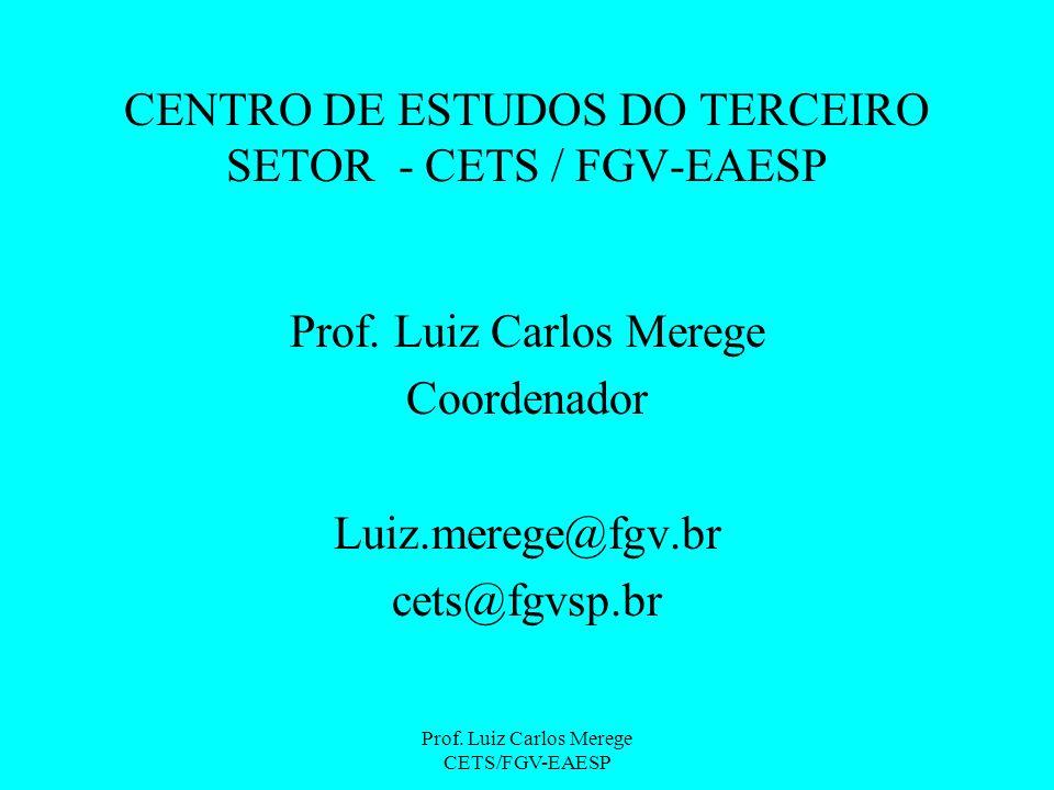 Prof. Luiz Carlos Merege CETS/FGV-EAESP CENTRO DE ESTUDOS DO TERCEIRO SETOR - CETS / FGV-EAESP Prof. Luiz Carlos Merege Coordenador Luiz.merege@fgv.br