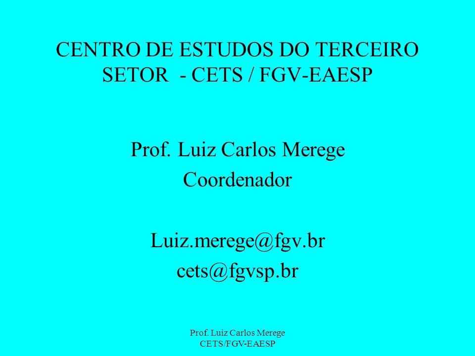 Prof.Luiz Carlos Merege CETS/FGV-EAESP Sustentabilidade O PROJETO A SER APRESENTADO 1.
