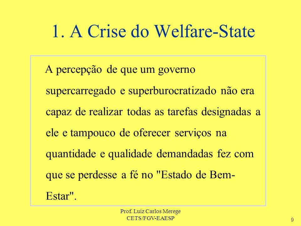 Prof. Luiz Carlos Merege CETS/FGV-EAESP A percepção de que um governo supercarregado e superburocratizado não era capaz de realizar todas as tarefas d