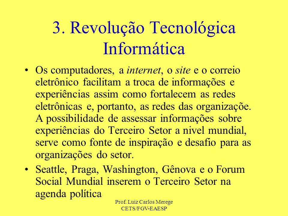 Prof. Luiz Carlos Merege CETS/FGV-EAESP 3. Revolução Tecnológica Informática Os computadores, a internet, o site e o correio eletrônico facilitam a tr