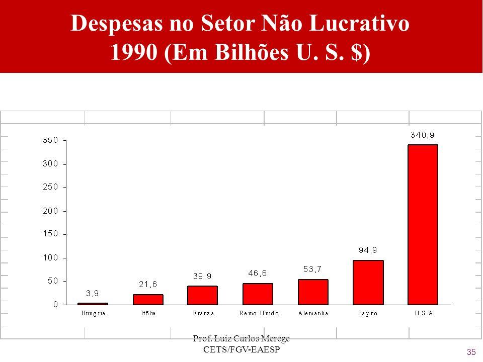 Prof. Luiz Carlos Merege CETS/FGV-EAESP Despesas no Setor Não Lucrativo 1990 (Em Bilhões U. S. $) 35