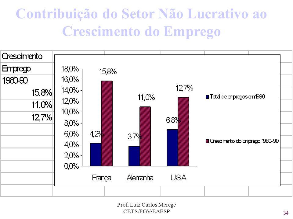 Prof. Luiz Carlos Merege CETS/FGV-EAESP Contribuição do Setor Não Lucrativo ao Crescimento do Emprego 34