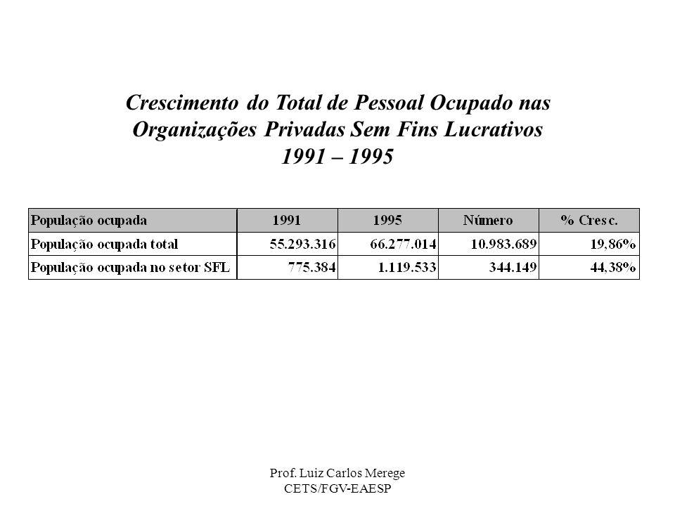 Prof. Luiz Carlos Merege CETS/FGV-EAESP Crescimento do Total de Pessoal Ocupado nas Organizações Privadas Sem Fins Lucrativos 1991 – 1995