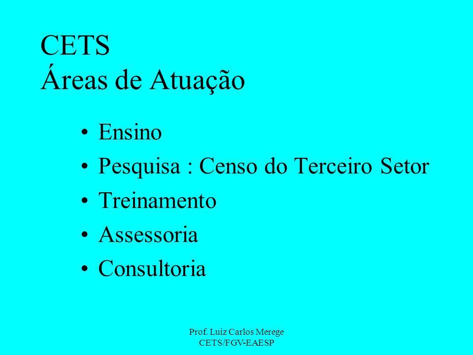 Prof. Luiz Carlos Merege CETS/FGV-EAESP CETS Áreas de Atuação Ensino Pesquisa : Censo do Terceiro Setor Treinamento Assessoria Consultoria