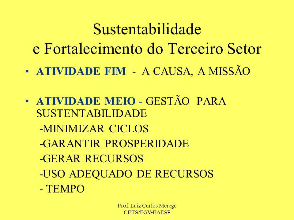 Prof. Luiz Carlos Merege CETS/FGV-EAESP Sustentabilidade e Fortalecimento do Terceiro Setor ATIVIDADE FIM - A CAUSA, A MISSÃO ATIVIDADE MEIO - GESTÃO