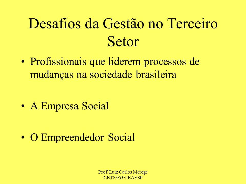 Prof. Luiz Carlos Merege CETS/FGV-EAESP Desafios da Gestão no Terceiro Setor Profissionais que liderem processos de mudanças na sociedade brasileira A