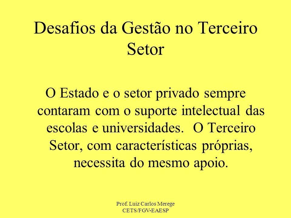 Prof. Luiz Carlos Merege CETS/FGV-EAESP Desafios da Gestão no Terceiro Setor O Estado e o setor privado sempre contaram com o suporte intelectual das