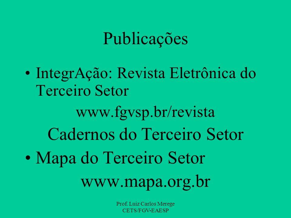 Prof. Luiz Carlos Merege CETS/FGV-EAESP Publicações IntegrAção: Revista Eletrônica do Terceiro Setor www.fgvsp.br/revista Cadernos do Terceiro Setor M