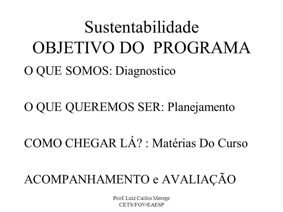 Prof. Luiz Carlos Merege CETS/FGV-EAESP Sustentabilidade OBJETIVO DO PROGRAMA O QUE SOMOS: Diagnostico O QUE QUEREMOS SER: Planejamento COMO CHEGAR LÁ