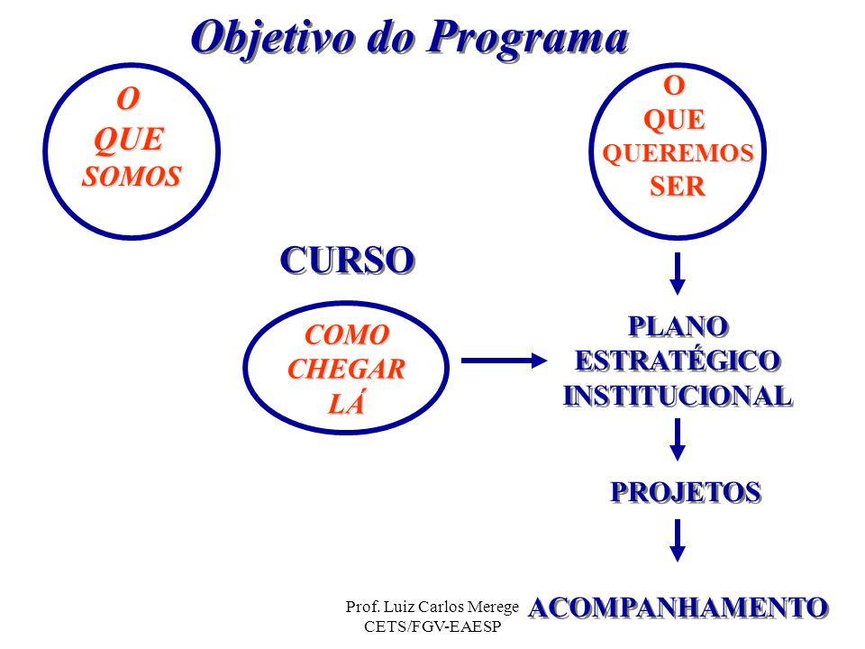 Prof. Luiz Carlos Merege CETS/FGV-EAESP Objetivo do Programa OQUESOMOS PROJETOS ACOMPANHAMENTO COMOCHEGARLÁ OQUEQUEREMOSSER CURSO PLANO ESTRATÉGICO IN
