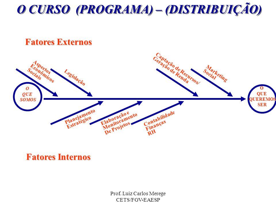 Prof. Luiz Carlos Merege CETS/FGV-EAESP O CURSO (PROGRAMA) – (DISTRIBUIÇÃO) OQUESOMOS OQUEQUEREMOSSER Fatores Externos Fatores Internos Aspectos Econô