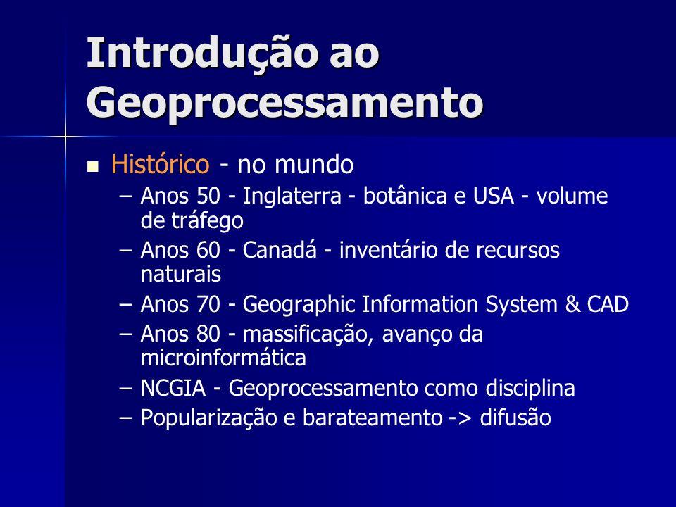 Introdução ao Geoprocessamento Histórico - no mundo – –Anos 50 - Inglaterra - botânica e USA - volume de tráfego – –Anos 60 - Canadá - inventário de r