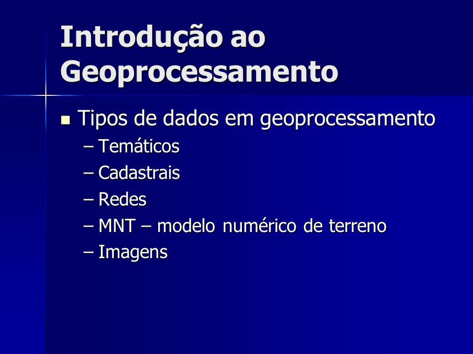 Introdução ao Geoprocessamento Tipos de dados em geoprocessamento Tipos de dados em geoprocessamento –Temáticos –Cadastrais –Redes –MNT – modelo numér