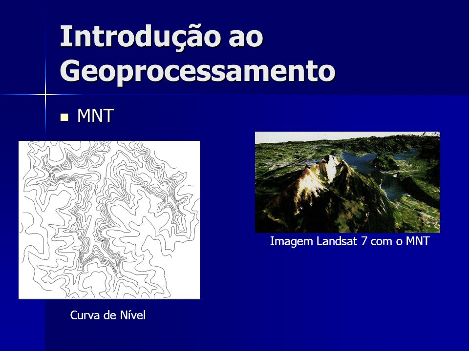 Introdução ao Geoprocessamento MNT MNT Imagem Landsat 7 com o MNT Curva de Nível
