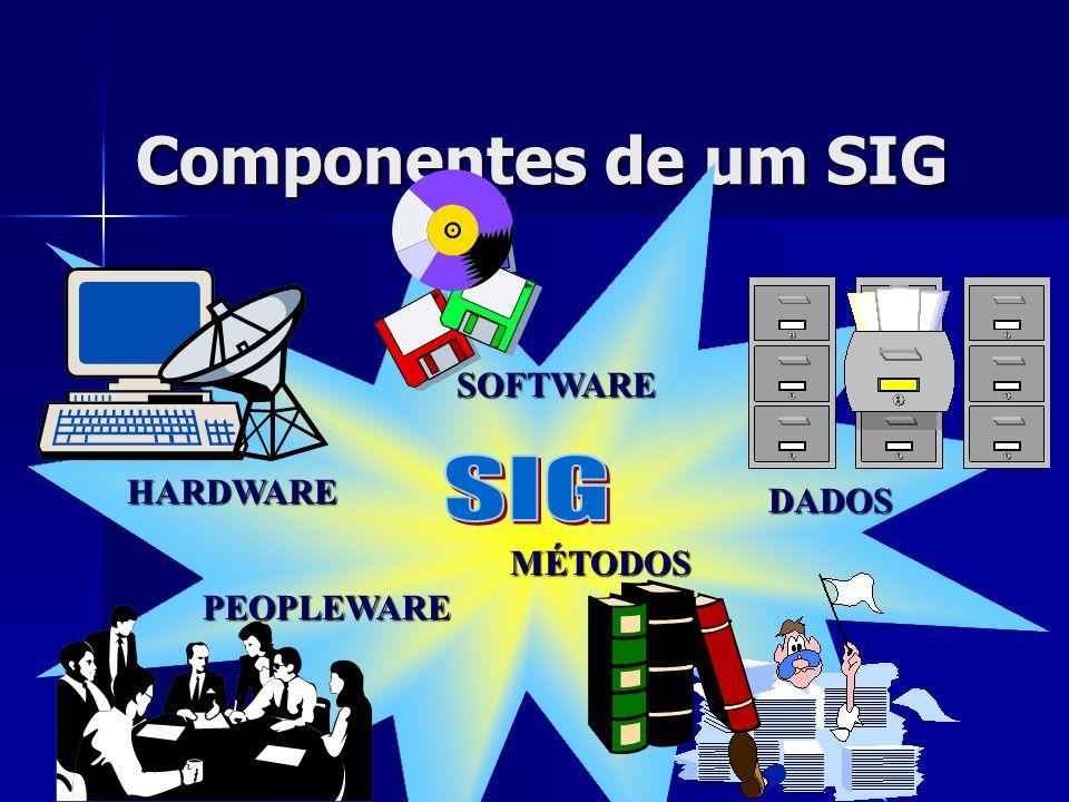 Componentes de um SIG SOFTWARE HARDWARE PEOPLEWARE MÉTODOS DADOS