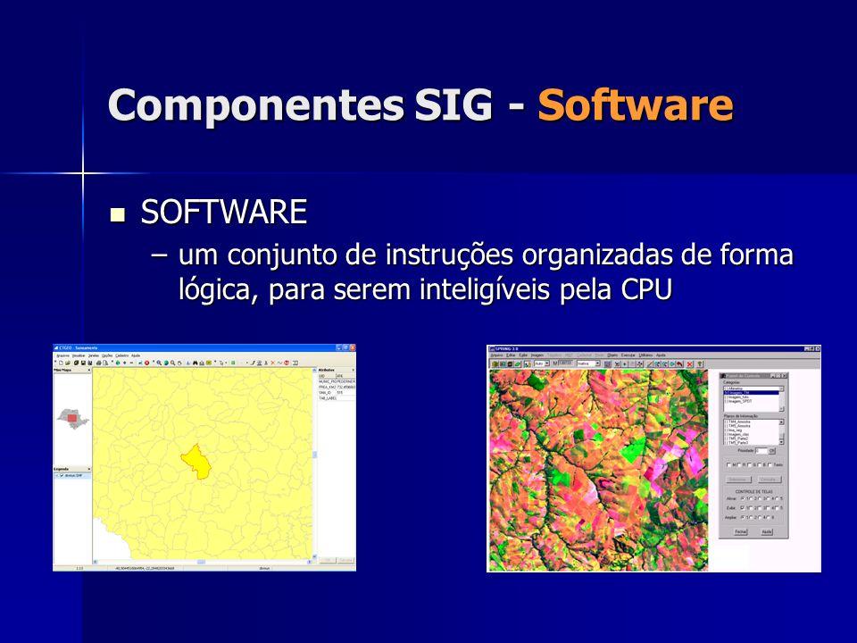 Componentes SIG - Software SOFTWARE SOFTWARE –um conjunto de instruções organizadas de forma lógica, para serem inteligíveis pela CPU