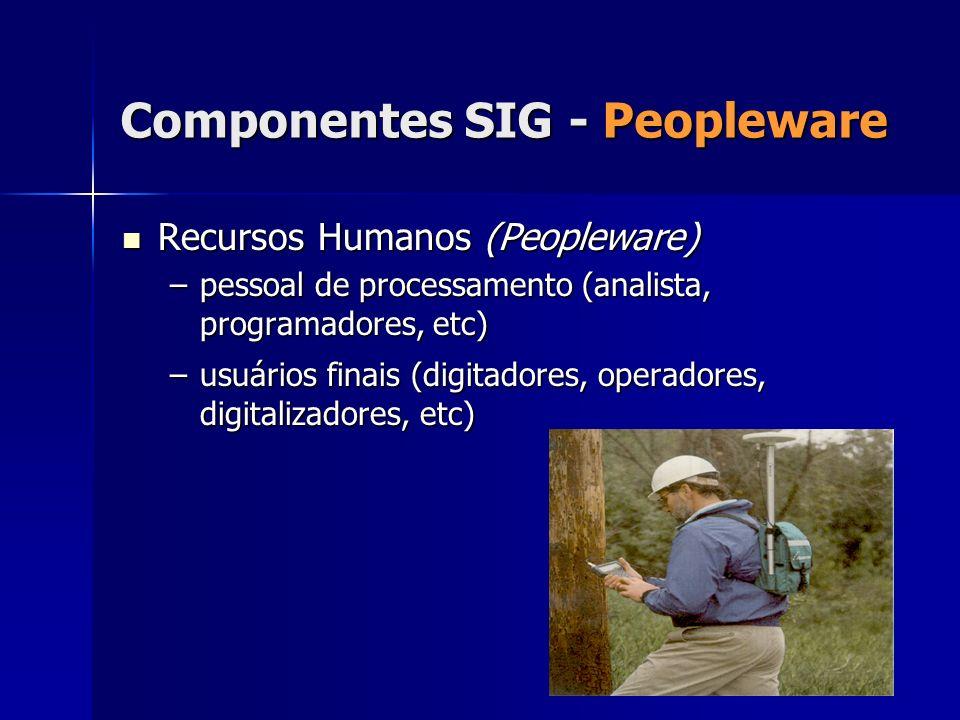 Componentes SIG - Peopleware Recursos Humanos (Peopleware) Recursos Humanos (Peopleware) –pessoal de processamento (analista, programadores, etc) –usu