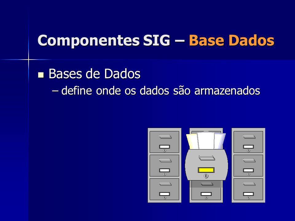 Bases de Dados Bases de Dados –define onde os dados são armazenados Componentes SIG – Base Dados