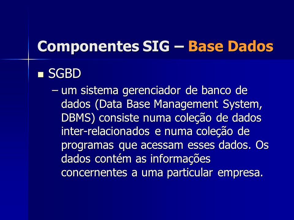 SGBD SGBD –um sistema gerenciador de banco de dados (Data Base Management System, DBMS) consiste numa coleção de dados inter-relacionados e numa coleç