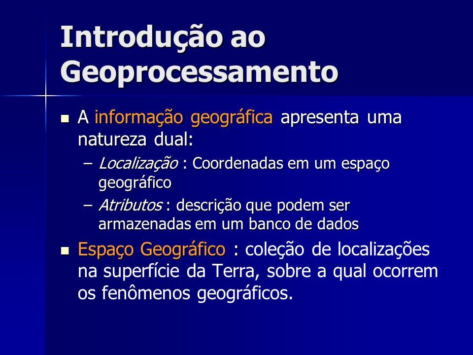 Introdução ao Geoprocessamento A informação geográfica apresenta uma natureza dual: A informação geográfica apresenta uma natureza dual: –Localização