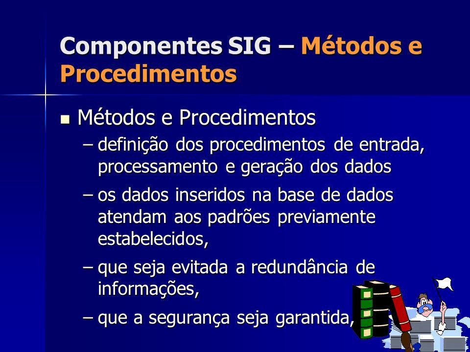 Métodos e Procedimentos Métodos e Procedimentos –definição dos procedimentos de entrada, processamento e geração dos dados –os dados inseridos na base