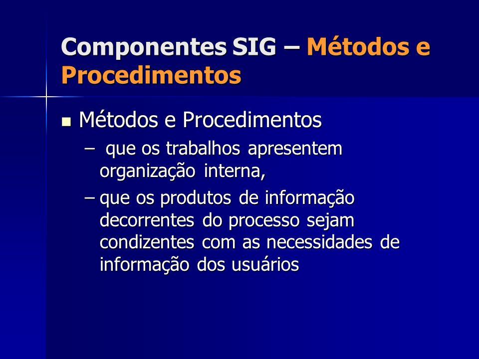 Métodos e Procedimentos Métodos e Procedimentos – que os trabalhos apresentem organização interna, –que os produtos de informação decorrentes do proce