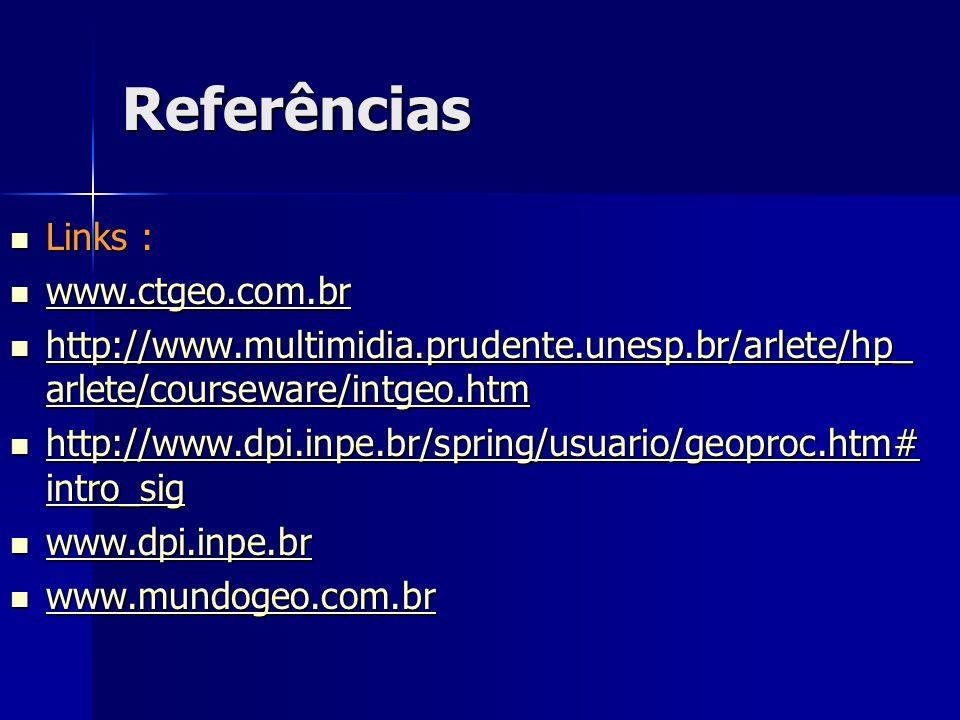 Referências Links : Links : www.ctgeo.com.br www.ctgeo.com.br www.ctgeo.com.br http://www.multimidia.prudente.unesp.br/arlete/hp_ arlete/courseware/in