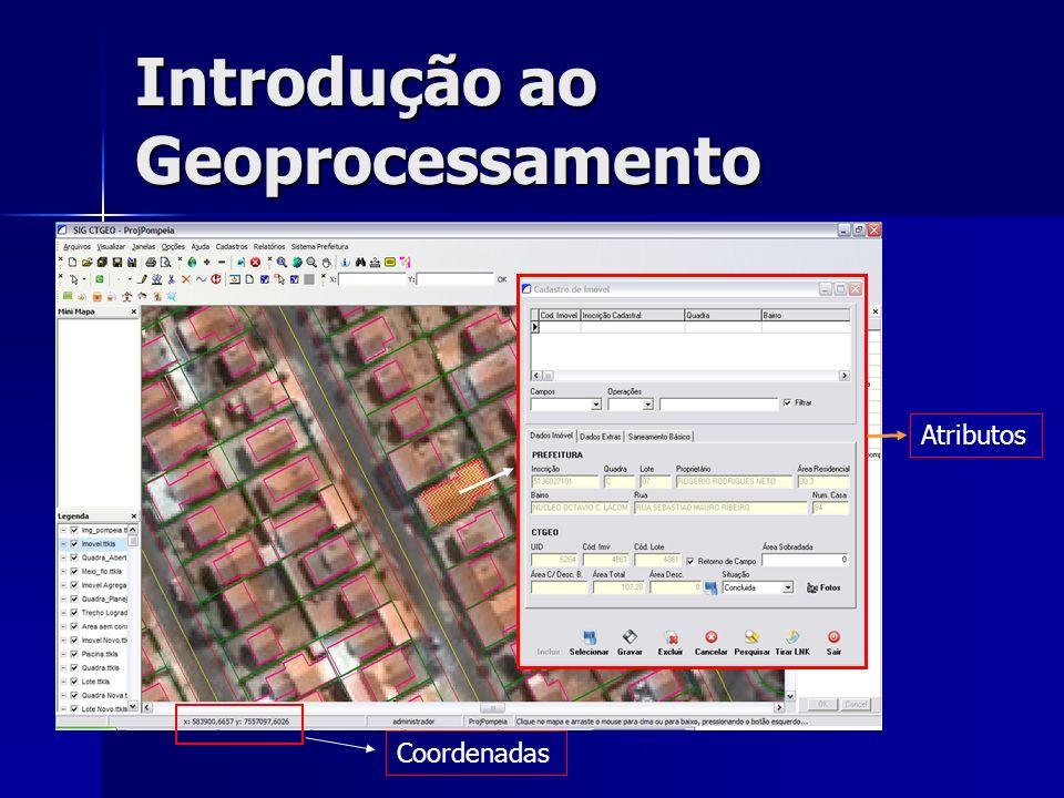 Introdução ao Geoprocessamento Atributos Coordenadas