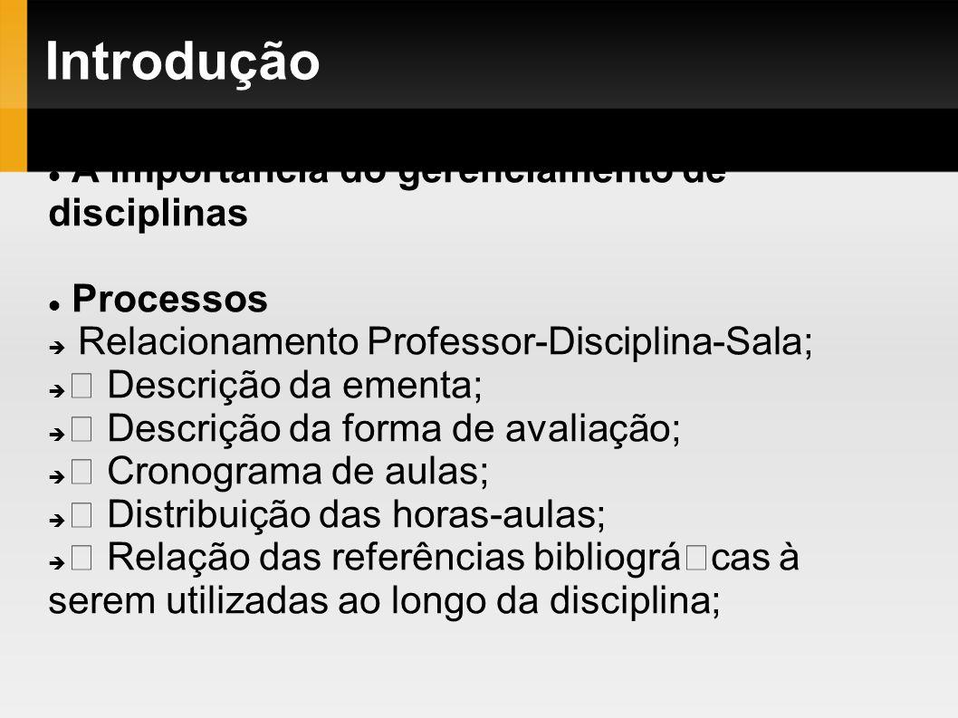 Introdução A importância do gerenciamento de disciplinas Processos Relacionamento Professor-Disciplina-Sala; Descrição da ementa; Descrição da forma d