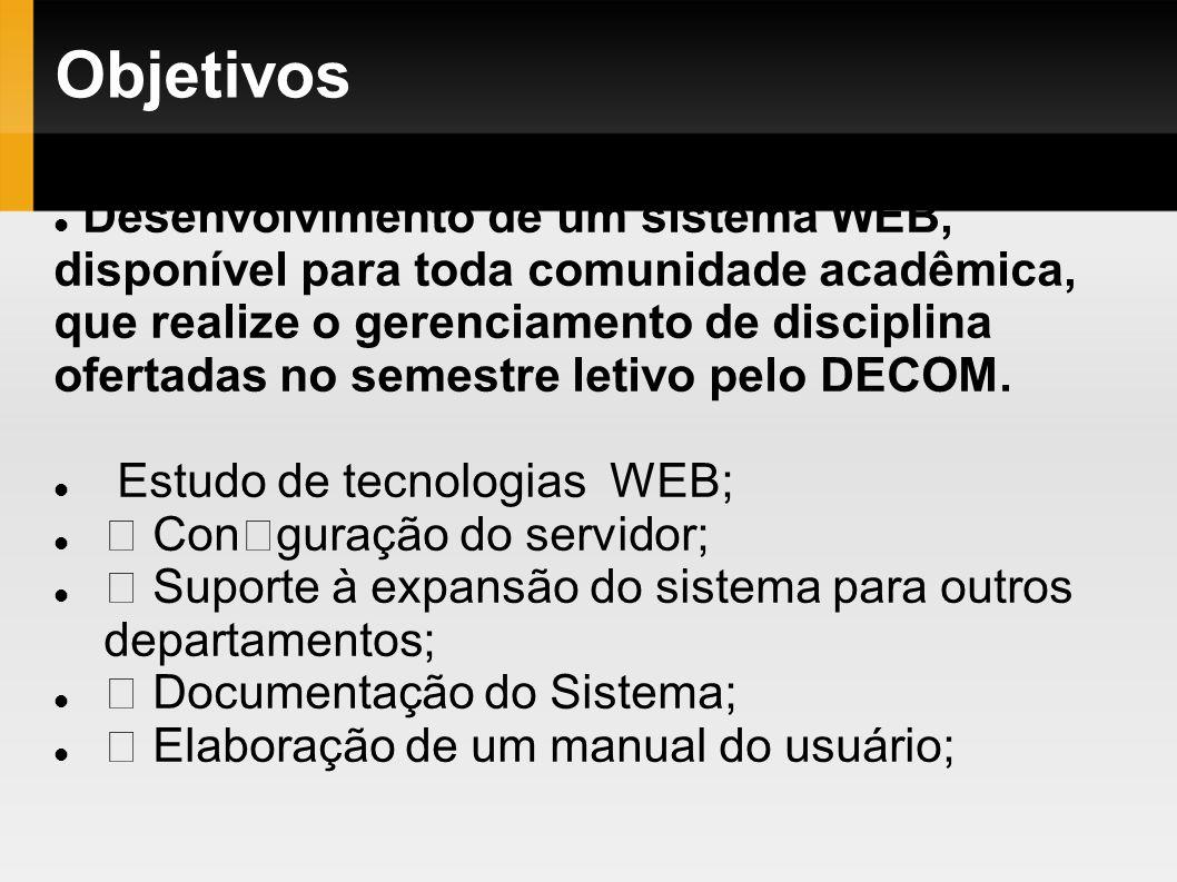 Objetivos Desenvolvimento de um sistema WEB, disponível para toda comunidade acadêmica, que realize o gerenciamento de disciplina ofertadas no semestr