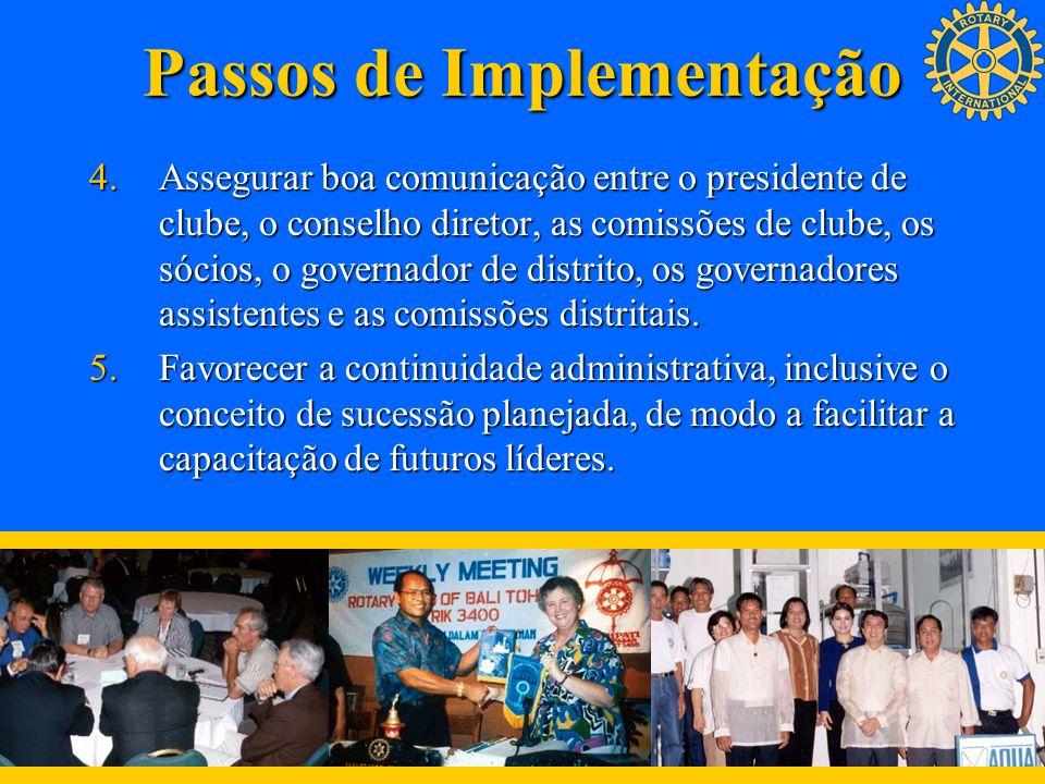 Passos de Implementação 4.Assegurar boa comunicação entre o presidente de clube, o conselho diretor, as comissões de clube, os sócios, o governador de