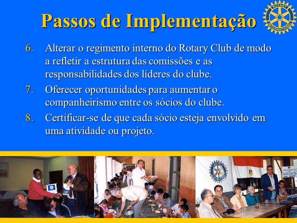 Passos de Implementação 6.Alterar o regimento interno do Rotary Club de modo a refletir a estrutura das comissões e as responsabilidades dos líderes d