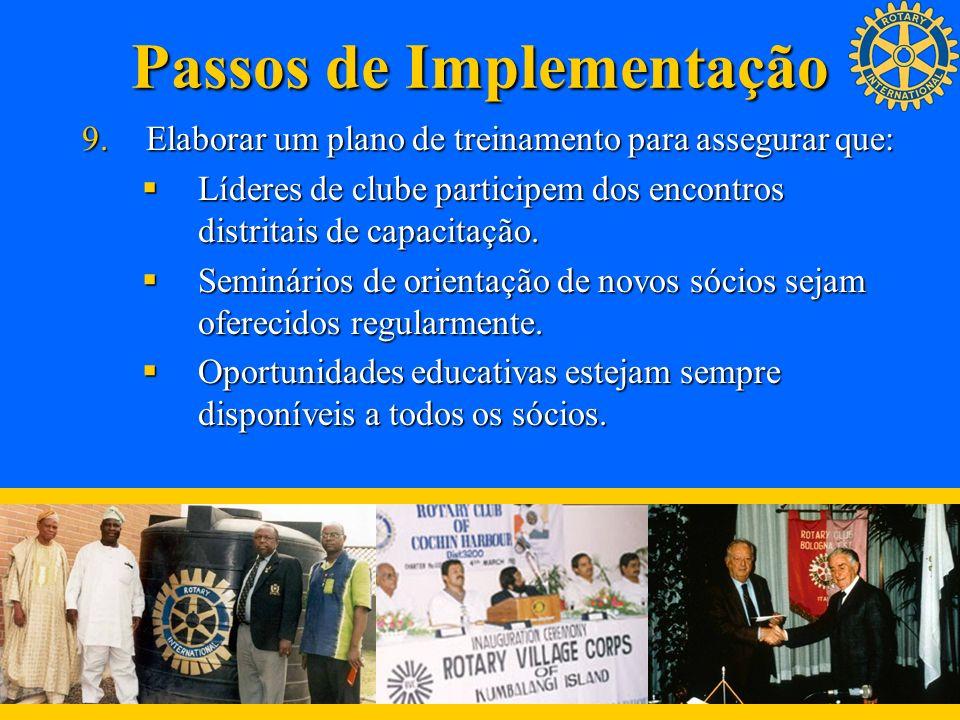 Passos de Implementação 9.Elaborar um plano de treinamento para assegurar que: Líderes de clube participem dos encontros distritais de capacitação. Lí