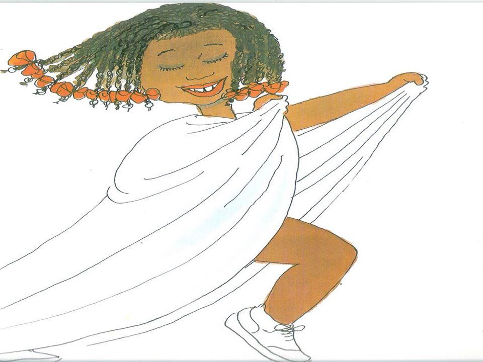 A inda por cima a mãe gostava de fazer trancinhas no cabelo dela e enfeitar comlaço de fita colorida. Elaficava parecendo uma princesa das Terras da Á
