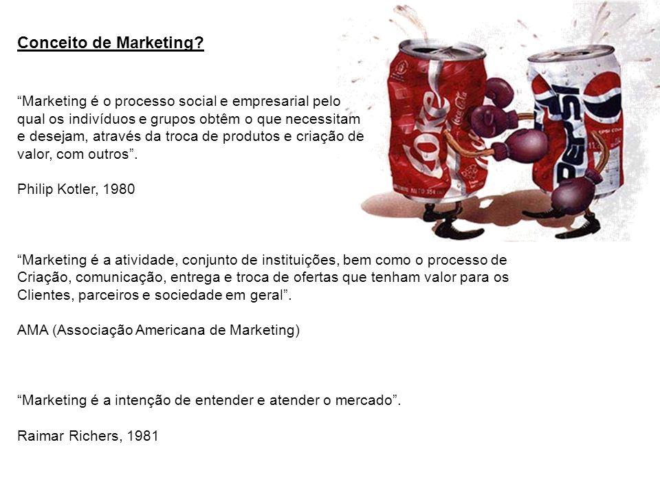 Conceito de Marketing? Marketing é o processo social e empresarial pelo qual os indivíduos e grupos obtêm o que necessitam e desejam, através da troca