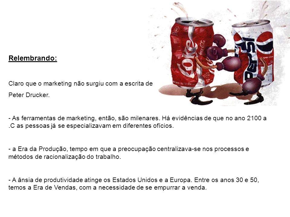 Relembrando: Claro que o marketing não surgiu com a escrita de Peter Drucker. - As ferramentas de marketing, então, são milenares. Há evidências de qu