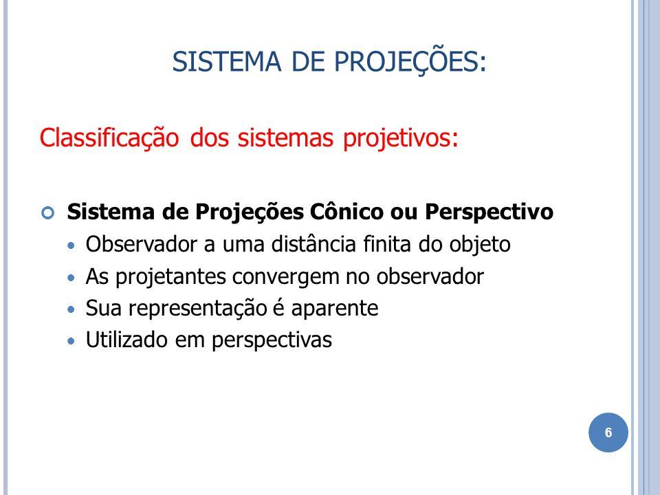 Classificação dos sistemas projetivos: Sistema de Projeções Cilíndrico ou Paralelo Distancia infinita entre observador e objeto Projetantes são paralelas entre si Métodos de projeção: Vistas ortográficas projetantes ortogonal aos planos de projeção Perspectivas projetantes oblíquas aos planos de projeção Representação real ou proporcional às dimensões do objeto no caso das vistas ortográficas e convencional no caso das perspectivas 7 SISTEMA DE PROJEÇÕES: