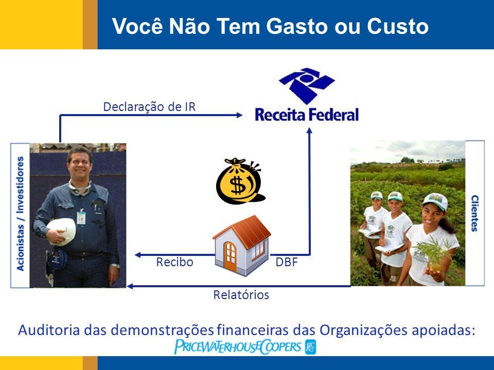 Você Não Tem Gasto ou Custo DBF Relatórios Recibo Declaração de IR Auditoria das demonstrações financeiras das Organizações apoiadas: